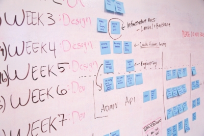 white board with project management plan writing