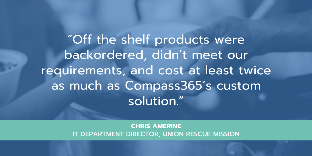 "Power Platform Custom Solution ""Off the shelf products were backordered, didn't meet our requirements, and cost at least twice as much as Compass365's custom solution."" – Chris Amerine, IT Dept Director, URM"