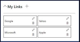 screenshot of SharePoint Custom My Links Web Part