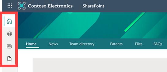 Screenshot of SharePoint App Bar on a SharePoint online site