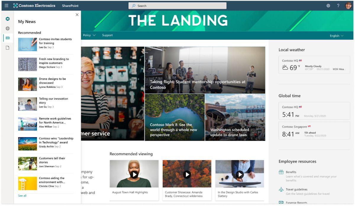 screenshot of the SharePoint App Bar