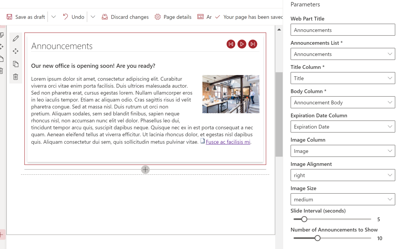 screenshot of Announcements Carousel SharePoint Web Part configuration options