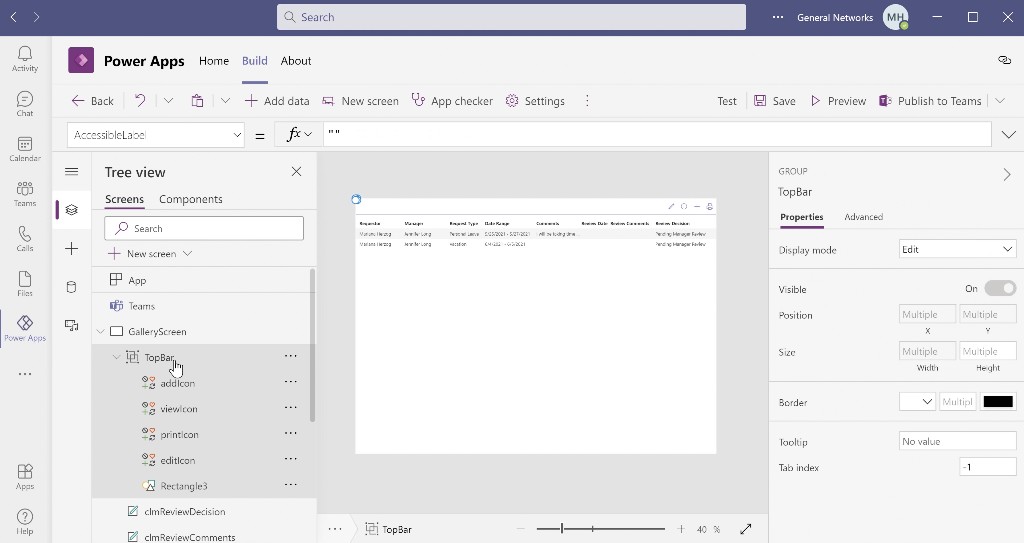 Screen shot of Power Apps Print Function