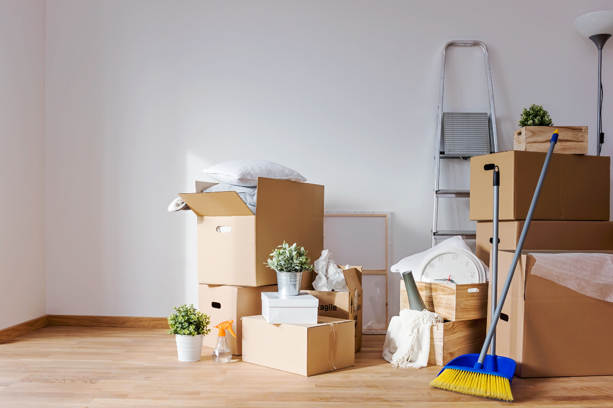 moving boxes and cleaning supplies