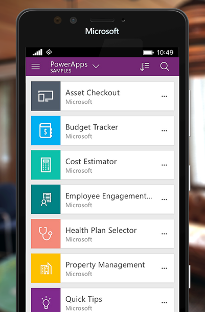 Power Apps on a mobile device screen
